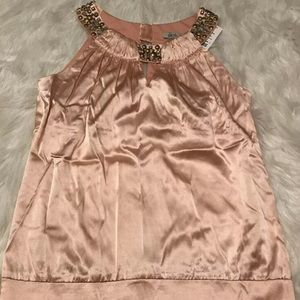 Cache Keyhole Beaded Pink Silk Top